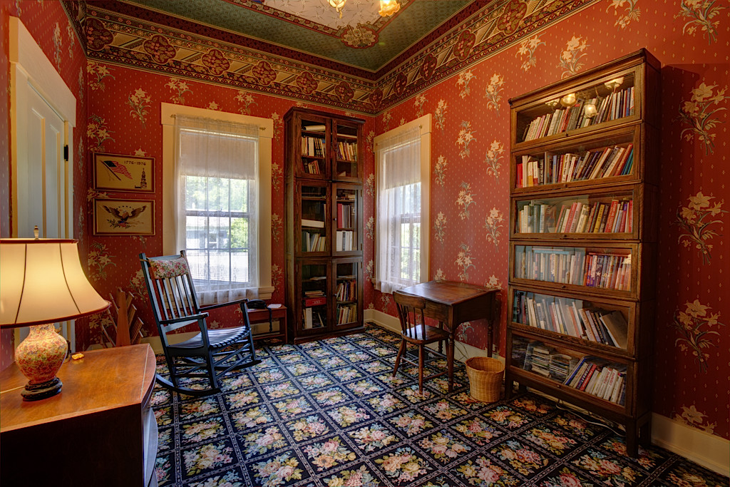 This bedroom is located upstairs and is currently used as an office. Bradbury & Bradbury paper gives this room its dramatic character.