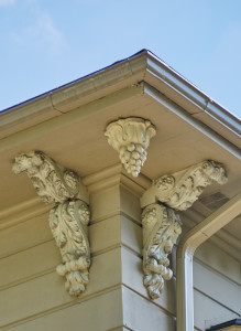 The cornice bracketing is made of terra cotta.